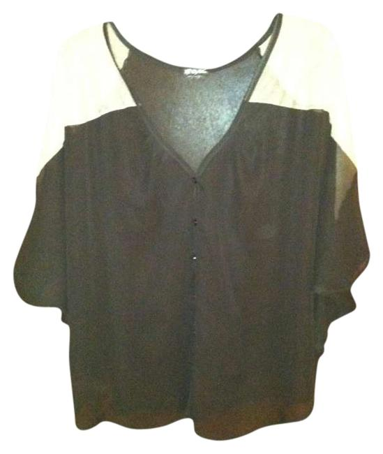 Lily White Comfortable Stylish Date Night Night Out Sheer Button Down Top Black and Cream