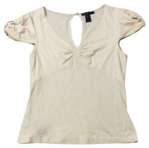 Mango Cotton V-neck T Shirt Cream