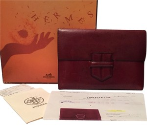 Hermès Hermes Vintage Leather Brown / Burgundy Clutch