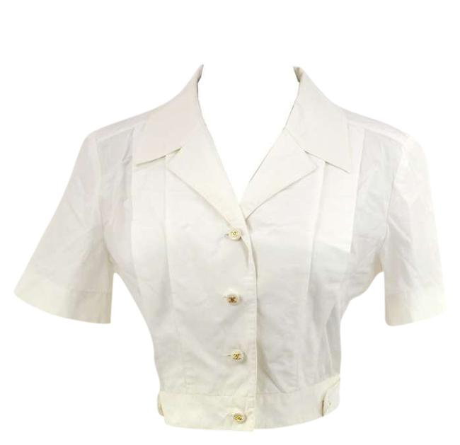 Chanel Cropped Coat Shirt White Jacket