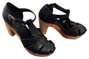 Madewell Clog Wood Heel Sandal black Pumps