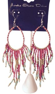 Lake Shore Drive Seed Bead Peacock Long Earrings