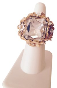 Kenneth Jay Lane Clear Crystal & Enamel Floral 22kt Gold Cocktail Ring, Size 7
