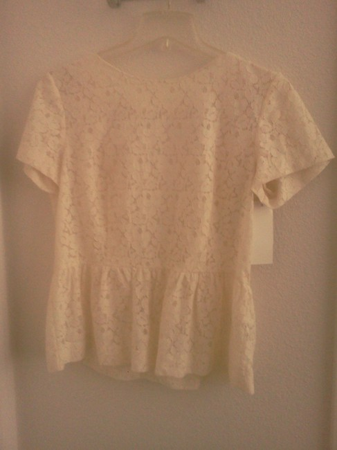 French Connection Lace Mykas Peplum Top cream