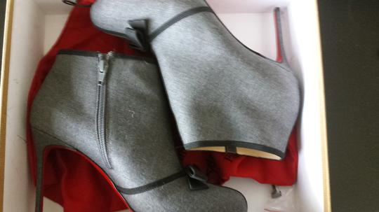 Christian Louboutin Flannel Ribbon Bow Stiletto Light Grey Boots