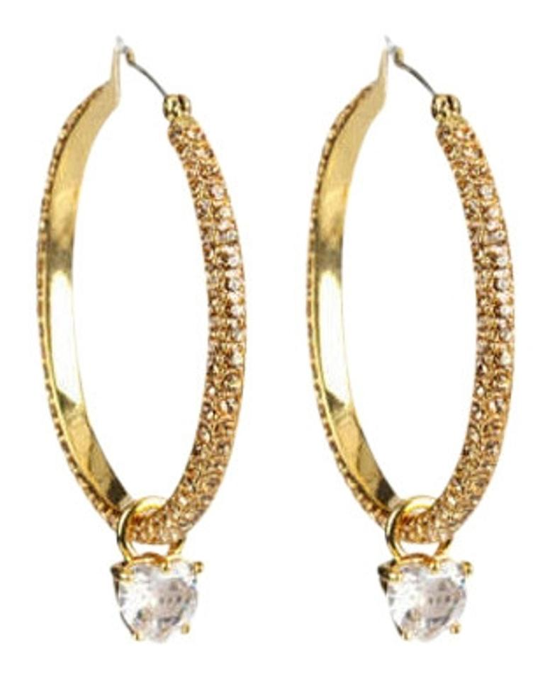Juicy Couture Large Pave With Drop Hoop Earrings