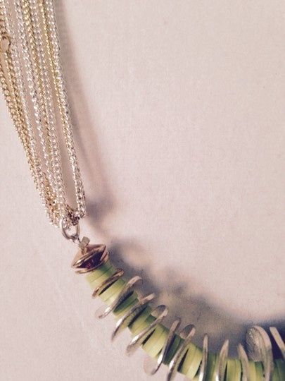 Kenneth Cole Lime Green, Bronze & Silver Disc Long Necklace