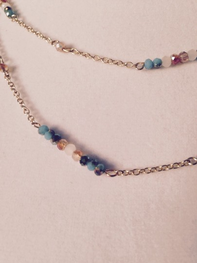 Spring Step Triple Strand Faceted Gemstone Gold Necklace