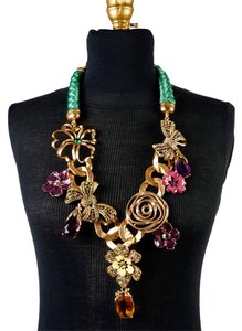 Oscar de la Renta Oscar de la Renta Embellished Milti-Color Floral Gold Necklace