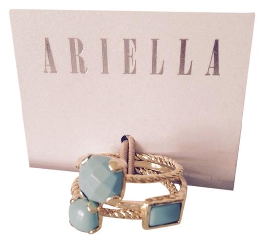 Ariella 3 Piece, Faceted Turquoise Stone Rope Design Stack Rings, Size 8