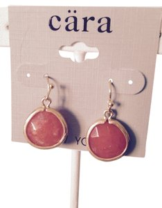 Cara Mia Sabine Faceted Orange Agate Gemstone In Gold Earrings