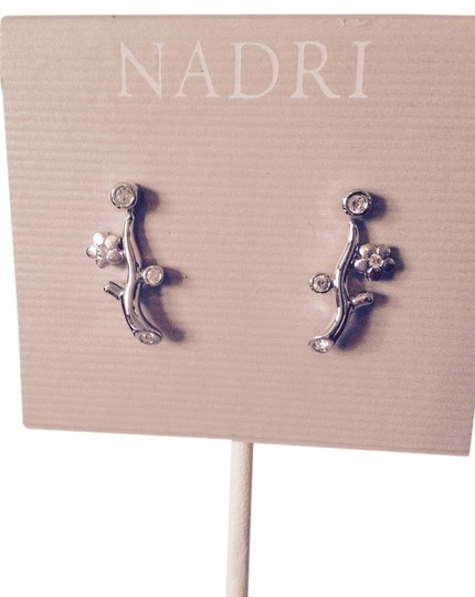 Nadri Silver Flower & Crystal Branch Design Stud Earrings