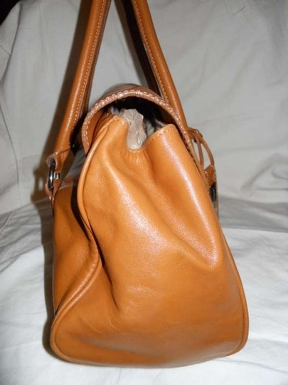 Antonio Melani Leather Satchel in tan
