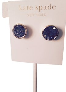 Kate Spade Faceted Royal Blue Stud Gold Earrings