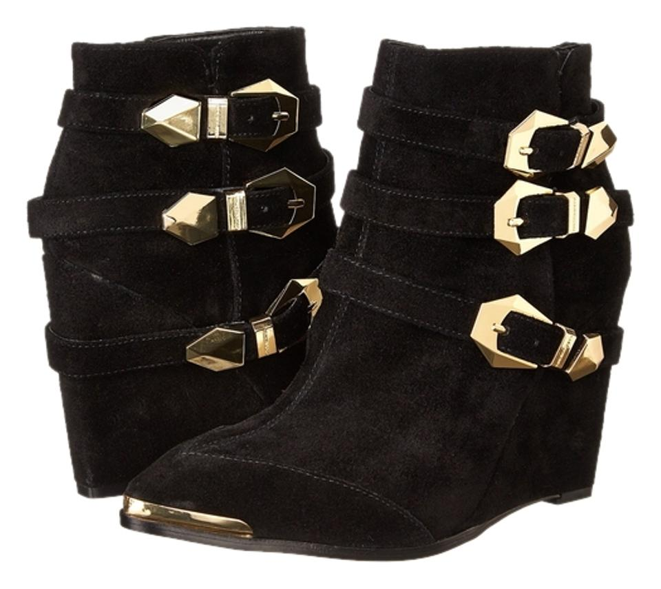aa2561708339b Vince Camuto Black Gold-tone Buckle Wedge Ankle Boots/Booties Size ...
