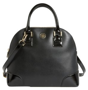 Tory Burch Saffiano Leather Dome Robinson One Gold Hardware Reva Logo Monogram Patent Patent Leather Satchel in Black
