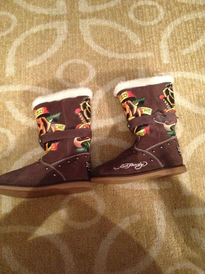 Ed Hardy Bronze Hardware Choco Brown Boots