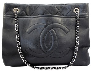 Chanel Caviar Leather Jumbo Tote Chain Shoulder Bag