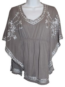 INC International Concepts Gap Embroidered Silver White Top Grey