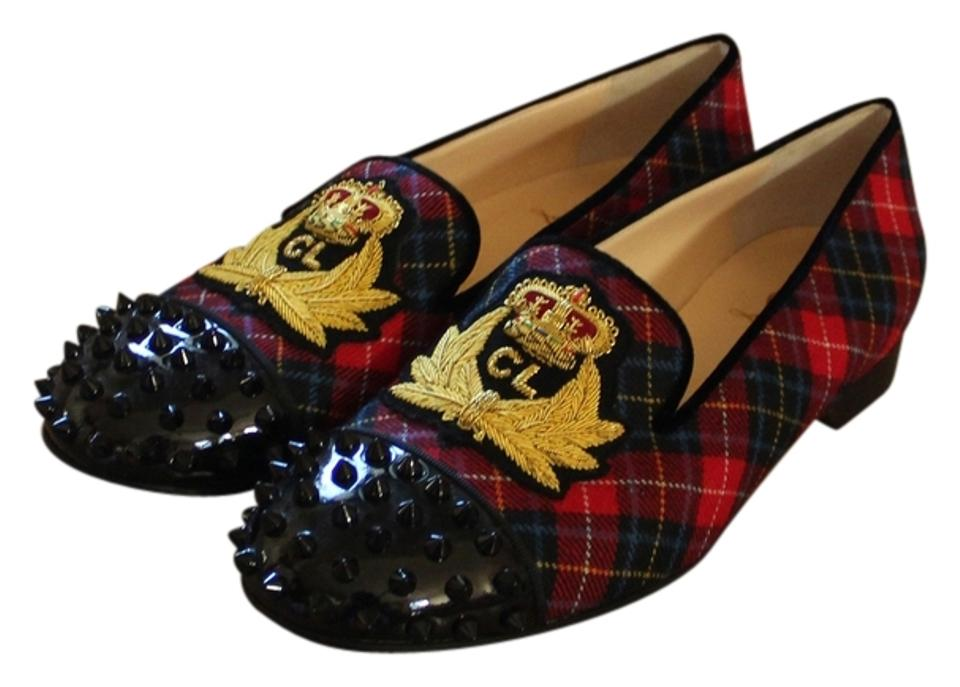 a29079b337e Christian Louboutin Red Beige Multicolor Plaid Intern Loafers New 38.5  Flats Size US 8.5 Regular (M, B)