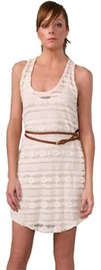 Patterson J. Kincaid short dress Cream Crochet Belted Sheer on Tradesy