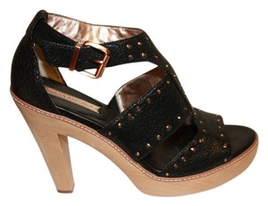 Banana Republic Leather Copper Studded Heels Size 8 Black Platforms