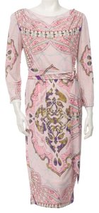 Emilio Pucci Multicolor Longsleeve Belted Print Dress