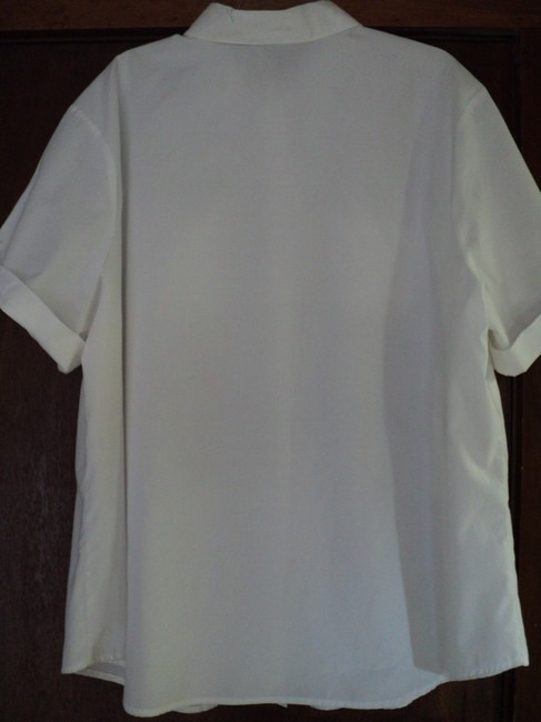 Cascade Blues Plus-size Button-tab Cuffed Sleeves 2 Pockets Top White
