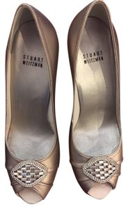 Stuart Weitzman Embellished Peep Toe Formal Leather Silver/Gold Pumps