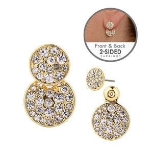 Mariell Gold Trendy Front-back Pave Disc Jacket In 4345e-g Earrings