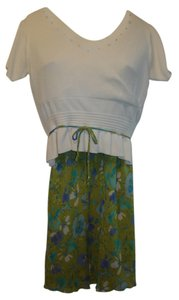 Clio Clio Knit Top Lime Green/Turquoise Skirt Set Washable