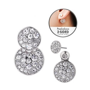Mariell Silver Trendy Front-back Pave Disc Jackets In 4345e-s Earrings