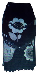 Nanette Lepore Floral Fishtail Skirt Black, grey, white