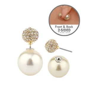 Mariell Ivory Celebrity Style Double Sided Front Back Pearl Crystal Stud Earrings