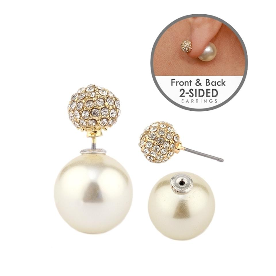 back sided image pearl is stud itm pearls s loading double front jackets earrings fan ear mini and