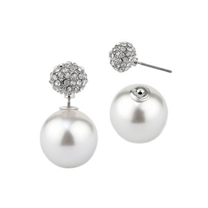 Mariell Celebrity Style Double Sided Front Back White Pearl & Crystal Pave Stud Earrings 4344e-w-s
