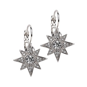 Mariell Silver Celestial Stars Prom Or Bridesmaids Euro Wire 4346e-s Earrings