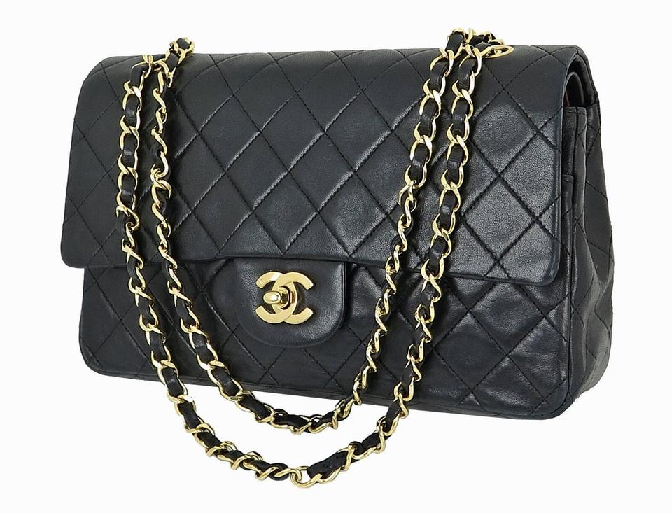 b9ff99a133 Chanel Classic Flap Cc Quilted Double Chains Black Lambskin Leather  Shoulder Bag 42% off retail