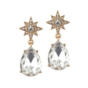 Mariell Gold Celestial Stars Bridal Or Prom Earrings With Bold Teardrops 4347e-g