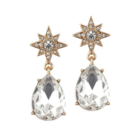 Mariell Gold Celestial Stars Bridal Or Prom Earrings With Bold Teardrops 4347e