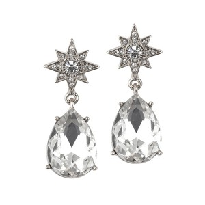 Mariell Silver Celestial Stars Or Prom with Bold Teardrops 4347e-s Earrings