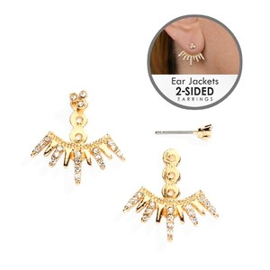 Mariell Gold Spikey Jackets For Bridesmaids and Prom 4348e-g Earrings