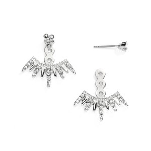 Mariell Silver Spikey Jackets For Bridesmaids and Prom 4348e-s Earrings