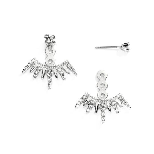 Mariell Spikey Silver Earring Jackets For Brides Bridesmaids And Prom 4348e-s
