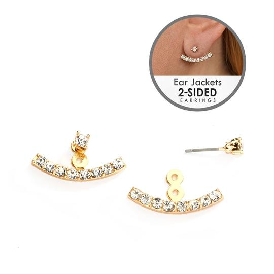 Mariell Crystal Ear Jackets With Gold Curved Arcs 4349e-g