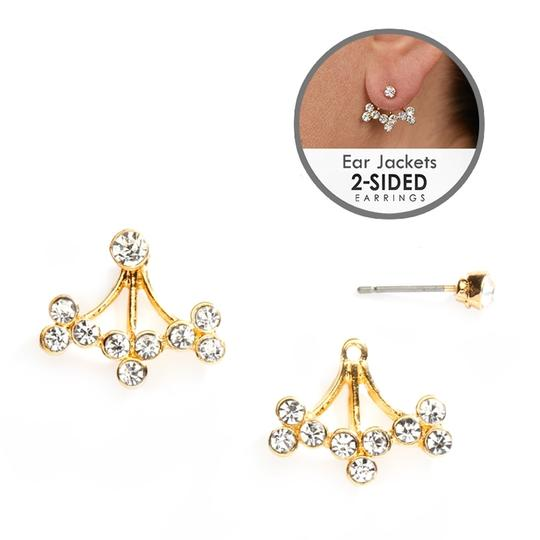 Mariell Crystal Sprigs Gold Earing Jackets For Proms And Weddings 4350e-g