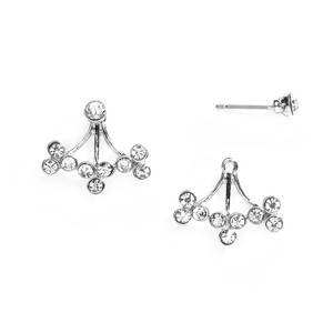 Mariell Silver Crystal Sprigs Ear Jackets For Proms and 4350e-s Earrings