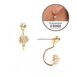 Mariell Gold Sophisticated Pave Crystal Suspension In 4351e-g Earrings