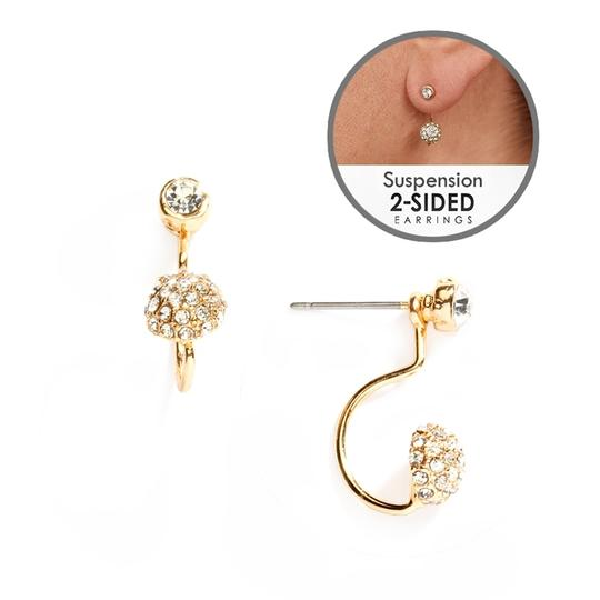 Mariell Sophisticated Pave Crystal Suspension Earrings In Gold 4351e-g