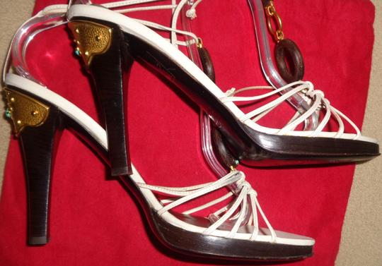 Valentino Genuine Turquoise Gold Hardware Leather Strappy White Sandals